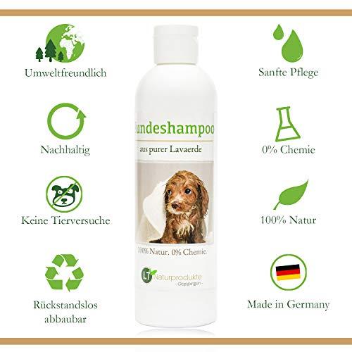 LT-Naturprodukte Hundeshampoo | Bio, gegen Juckreiz, hypoallergen, Chemie- und seifenfrei | neutraler Geruch, mit original marokkanischer Lavaerde | für Langfell und Kurzfell | 250ml