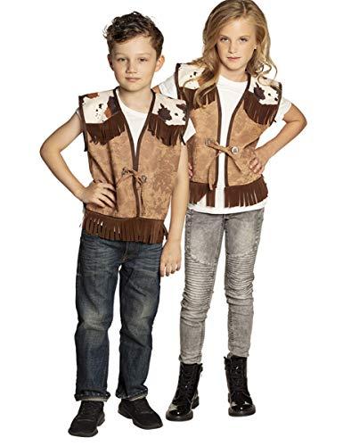 Generique - Chaleco Western marrón Claro niño 10-12 años (140-152 cm)