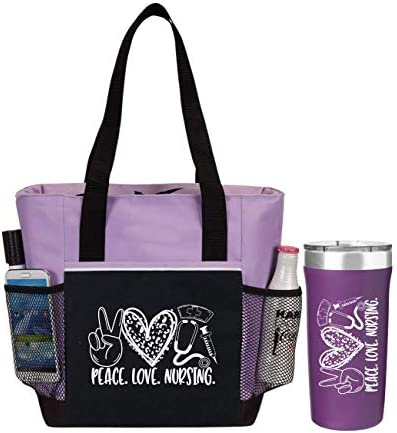 Peace Love Nursing 2 Piece Gift for Nurses Includes Insulated Tote Bag and Stainless Steel Tumbler product image