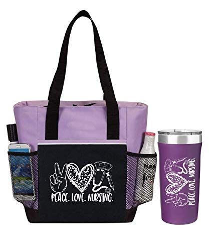 Peace, Love, Nursing. 2-Piece Gift for Nurses. Includes Insulated Tote Bag and Stainless-Steel Tumbler. Great Thank You Gift for Nurses. RN Gift and Perfect Graduation Gift. Nurse Bag for Work.
