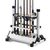 Rutenständer Angelrutenständer für 12 Angeln Rutenhalter Aluminium Angelständer Tragbare Angelrutenhalter Höhenverstellbar Ständer mit Doppelseitig Slot, 50x45x33cm