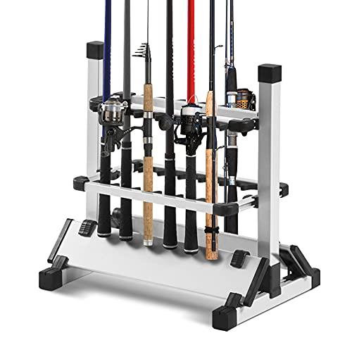 Rutenständer Angeln Ständer Angelrutenständer Höhenverstellbar Aluminium Tragbare und Leicht Rutenhalter Angelrutenhalter mit Doppelseitig Slot für 12 Angelruten, 50x45x33cm
