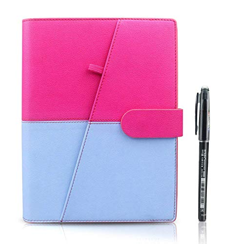 HOMESTEC Smart Notebook - Taccuini Riutilizzabile Cancellabile Block Notes Nube Conservazione Quaderni Spirale per la Scuola Forniture Casa Memo di Scrittura Penna Inclusa(A5-PU-Rosa)
