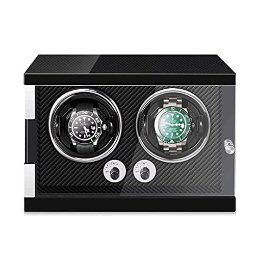 WRNM Cajas Giratorias para Relojes Almacenamiento Luz LED Agitador Medidor Presentación Reloj Madera Mecánica para 2 Relojes De Pulser (Color : Black)