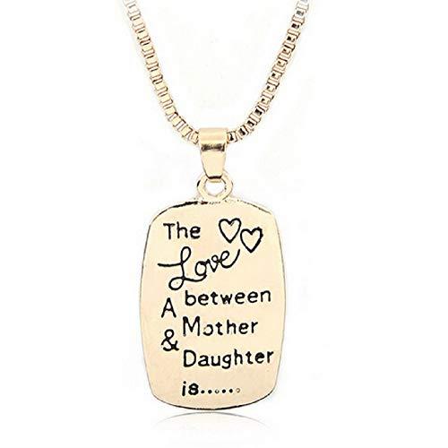 KIRALOVE Collar - Medalla - Colgante - Color Dorado - el Amor Entre Madre e Hija es - Familia - día de la Madre - niños - Colgante - Hija Love