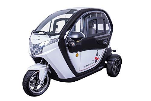 VELECO Scooter Electrico Adulto 3 Ruedas Movilidad Reducida Coche eléctrico Ciclomotor 45km/h Blanco