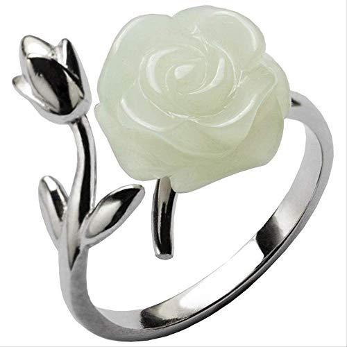 Anillo De Jade Hetiano Natural De Plata Esterlina, Apertura Femenina, Regalo De Flor Rosa Ajustable