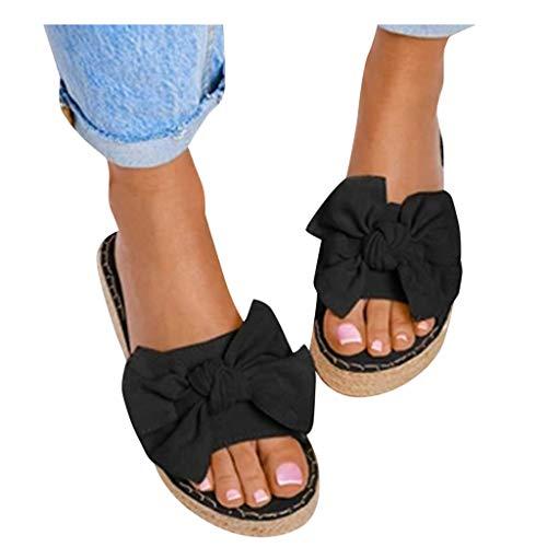 Dasongff Sandalias de mujer con plataforma, con lazos, sandalias de playa, sandalias de verano, sandalias planas, sandalias de punta abierta, sandalias de ante, cómodas y modernas