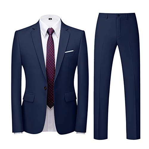 Blazer Uomo Giacca Elegante Pantaloni Formale Basse Slim Fit Fiesta Colletto Cappotto Casual Lavoro Completo Classic Festa Smoking Cardigan (XXL,4blu Scuro)