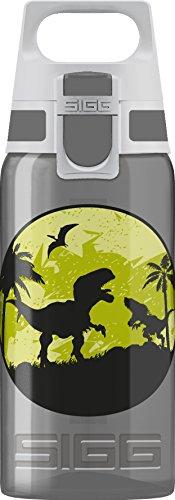 SIGG VIVA ONE Dinos Kinder Trinkflasche (0.5 L), schadstofffreie Kinderflasche mit auslaufsicherem Deckel, einhändig bedienbare Trinkflasche für Kinder