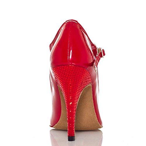 Damen High Heel Stiletto Minitoo Snake Ballroom Latein Tanzschuhe, Rot – rot – Größe: 40 - 2