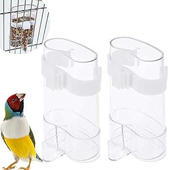 Mangeoire Automatique En Plastique Transparent 2PCS Cage À Oiseaux Distributeur d'Eau Distributeur Eau Automatique Pour Oiseaux Distributeur Eau Aliments Oiseaux Blanc Pour Oiseaux Perroquet Cockatiel