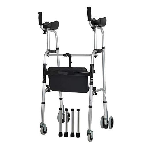 Looprek met wielen en zitkruk Opvouwbare training voor onderste ledematen Home Aluminium Walker-ondersteuning Oefening voor onderste ledematen