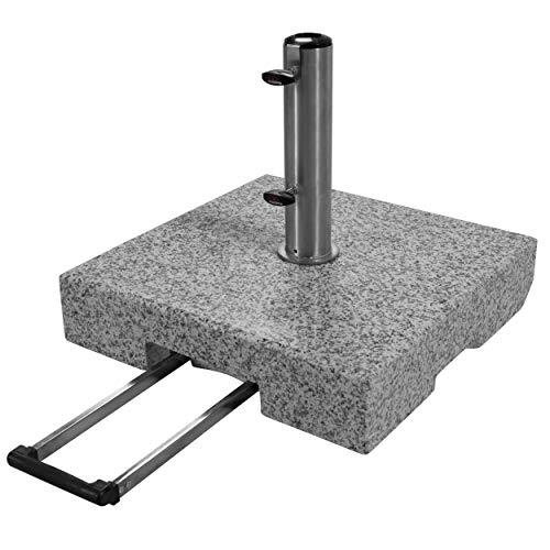 Doppler Active Trolley Granitsockel – 70 kg mit ausziehbarem Zuggriff und Rollen – Für Sonnenschirme – Rostfrei