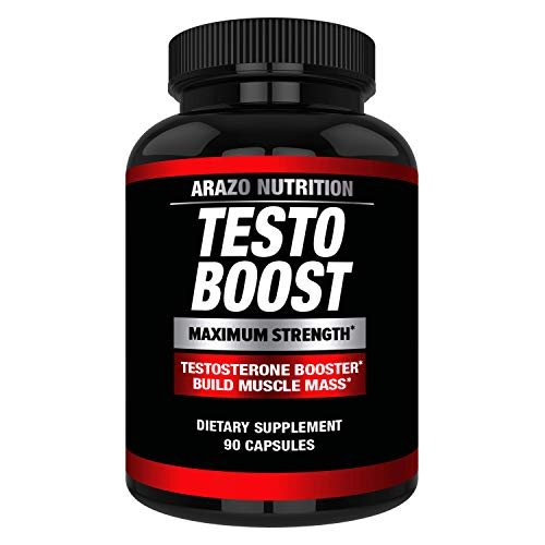 TestoBoost Test Booster Supplement - Potent & Natural Herbal Pills - Boost Muscle Growth - Tribulus, Horny Goat Weed, Hawthorn, Zinc, Minerals - Arazo Nutrition