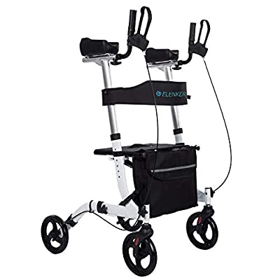 ELENKER Upright Walker, Stand Up Folding Rollator Walker Back Erect Rolling Mobility Walking Aid with Backrest Seat Padded Armrests for Seniors and Adults,White