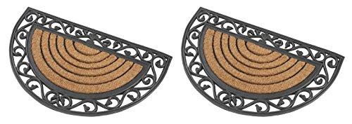 2x Halbrunde premium Fußmatte aus Gummi und Kokosfasern 76 x 46 cm ✓ 3 kg Fußabtreter verhindert verrutschen ✓ Robust & repräsentativ ✓ Schmutzfangmatte, Schmutzmatte, Fußabstreifer im Eingangsbereich