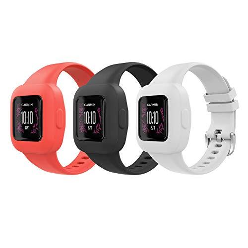 MoKo 3 PZS Correa de Reloj para Garmin Vivofit JR 3,Pulsera de Repuesto de Silicona Suave para Niños, Negro+Rojo Brillante+Blanco