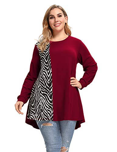 LARACE Plus Size Sweatshirts Lightweight Animal Print Tops For Women Long Sleeve Tunic Loose Pullover Color Block T-shirts(Wine Red M)