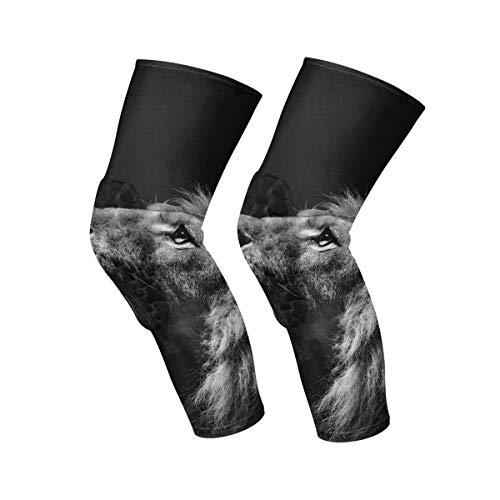 Lecintevro Best Blcak Lion 1 Pair Anti-Slip Honeycomb Knee Pads Protector Long Compression Leg Sleeve for Volleyball Baseball Football Wrestling