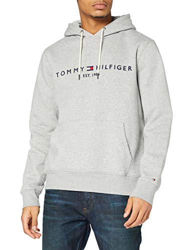 Tommy Hilfiger Tommy Logo Hoody sudadera, Grau (Cloud Htr 501), Large para Hombre