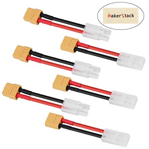 MakerStack 6pcs connettore Maschio a connettore XT60 Femmina Adattatore Filo in Silicone 14awg per pacchi Batteria a dinamite Turnigy/Zippy/NiCd NiMH