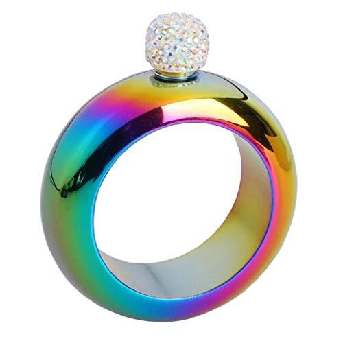 LAVALINK 3,5 Oz Diamant-Armband Hip Flask Metall Whiskey Wodka Tasche Flachmann Edelstahl-Spiritus-Wein-Flasche Partei Reisen (zufällige Farbe)