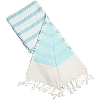 Batini Bay Turkish Beach Kikoy Towel Lined with Terry Cloth -100% Cotton fouta Yoga Pilates Bath (Aqua)
