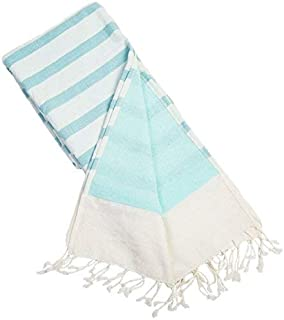 Batini Bay Turkish Beach Kikoy Towel Lined with Terry Cloth -100% Cotton fouta Yoga Pilates Bath (Aqua)
