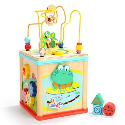 Lihgfw Baby Pädagogisches Spielzeug über 1 Jahr alt, Runde Perlenschatzkasten Spielzeug, Baby Perlenspielzeug, 1 Jahr alt Baby, niedlicher Frosch Tetraeder (Color : Natural)
