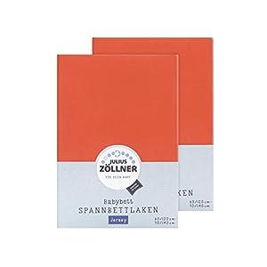 Julius Zöllner 8380347710 – Sábana Bajera Ajustable para Cuna (2 Unidades, 60 x 120 cm y 70 x 140 cm), Color Coral