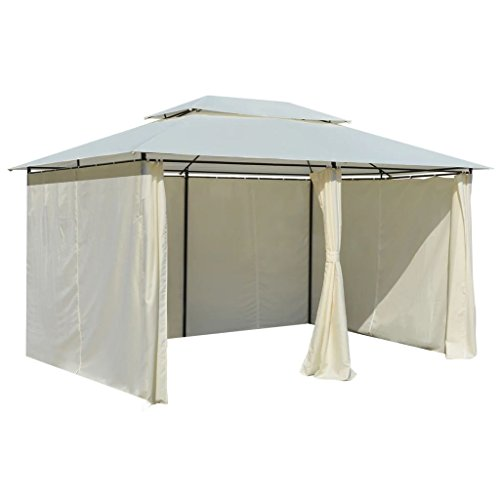 Irfora Garden Marquee with Curtains Garden Gazebo with Side Panel Water-resistant 4 x 3 x 2.7 m White