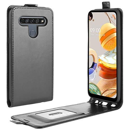 HualuBro LG K61 Hülle, Premium PU Leder Brieftasche Schutzhülle HandyHülle [Magnetic Closure] Handytasche Flip Hülle Cover für LG K61 Tasche (Schwarz)