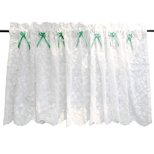 LYDM op maat gemaakte Amerikaanse stijl half gordijn puur wit geborduurd paalpiercing gordijn gordijn voor kast deur half gordijnen, 1 stks