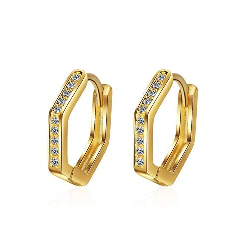 Pendientes de plata de cristal natural Pendientes de aro para mujer (Gem Color : FQL121N26 Gold)