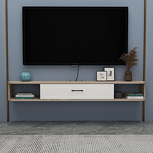Mueble de TV Flotante, Mueble TV de Pared mate para sala de estar sala de entretenimiento oficina, estante de almacenamiento multimedia de madera para el hogar/D / 100cm