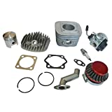 Kit de motor, 47mm, cilindro, pistón, filtro y colector, junta de bujía para carburador para motor de gasolina de 2tiempos, 80cc, motor de bicicleta