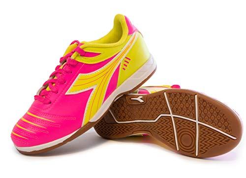 Diadora Kids  Cattura ID JR Indoor Soccer Shoes (1.5 Little Kid  Neon Pink/Neon Yellow)