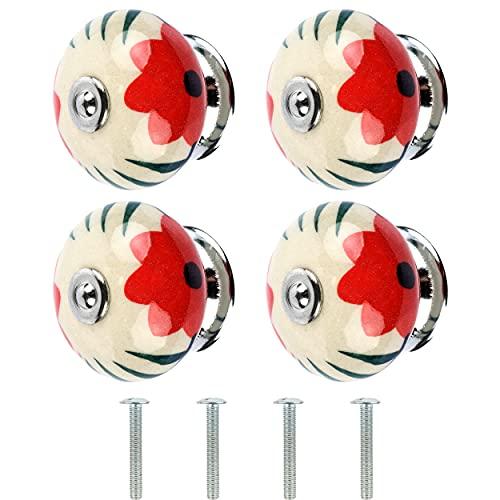 4 Pomos para Armarios, Cajones y Mueble, Tiradores de Cajones, Diferentes Modelos y Colores Fabricado en Europa, con un Solo Agujero Tornillos Incluido - Porcelana Flor Rojo 40mm x 30 mm