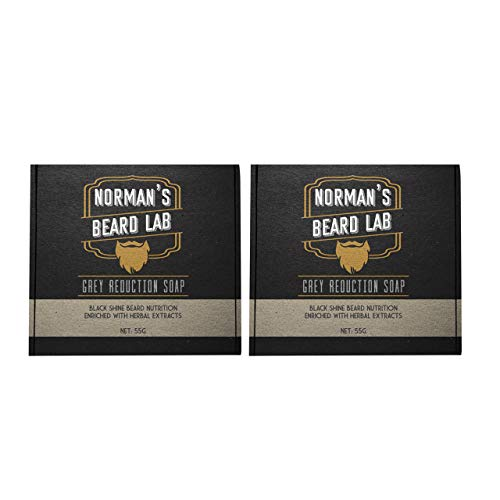(2-Pack) Norman's Beard Lab, Black Shine Beard Nutrition, Improves Beard Growth, Reduces Grey & White Hair Color for Natural Looking Results, The Official Brand Grey Reduction Soap