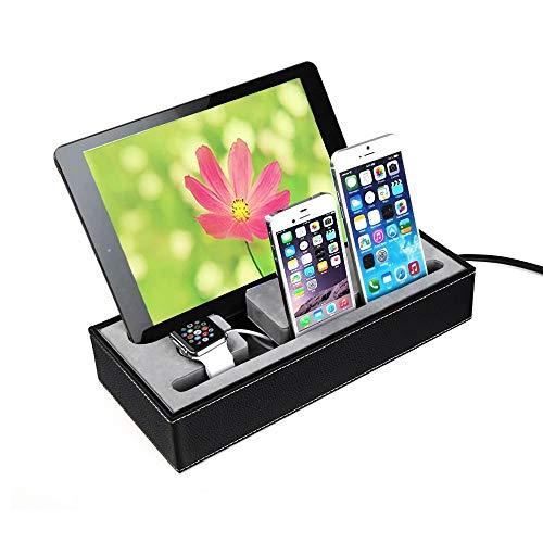 KawKaw Leder-Organizer und Multi-USB Ladestation für Smartphone, Apple Watch & Tablet - Dockingstation, Halterung & Ordner für mehrere Elektronik-Geräte gleichzeitig