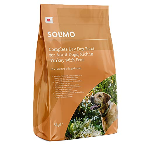 Marchio Amazon -Solimo Alimento secco completo per cani adulti ricco di tacchino con piselli, 1 confezione da 5 kg