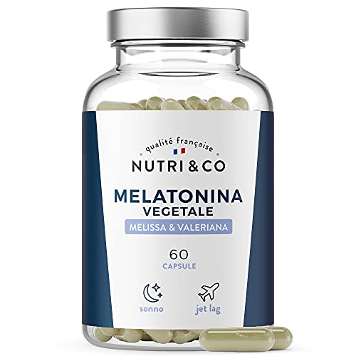 Melatonina Vegetale Pura e Forte 1mg + Valeriana + Melissa BIO   Complesso per Sonno e Umore   Integratore Alimentare per Dormire Biodisponibile   Jet Lag   60 Capsule Vegane Made in France   Nutri&Co