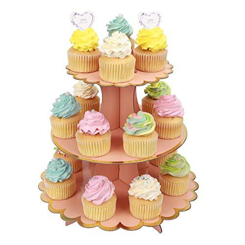 MengH-SHOP Tortenständer 3 Etagen Cupcake Ständer Muffin Ständer aus Karton für Hochzeit Party Geburtstag Baby Duschen Kuchen Dessert Torten Etagere