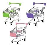 Lurrose 3pcs Mini Carrito de Compras Supermercado de Juguetes Carretilla de Mano con Ruedas Almacenamiento de Maquillaje para el Escritorio Niños Mujeres Decoración (Rosa + Púrpura + Verde)