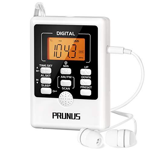 PRUNUS J-157 Mini Radio Am/FM portátil con Despertador, Radio de Emergencia con Alarma SOS y Linterna, Radio Reloj Digital con Funciones de sueño y Temporizador, Función de preselección