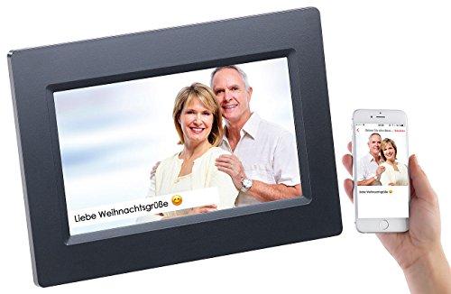 Somikon Bilderrahmen Foto: WLAN-Bilderrahmen mit 17,8-cm-IPS-Touchscreen & weltweitem Bild-Upload (Digitaler Fotorahmen)