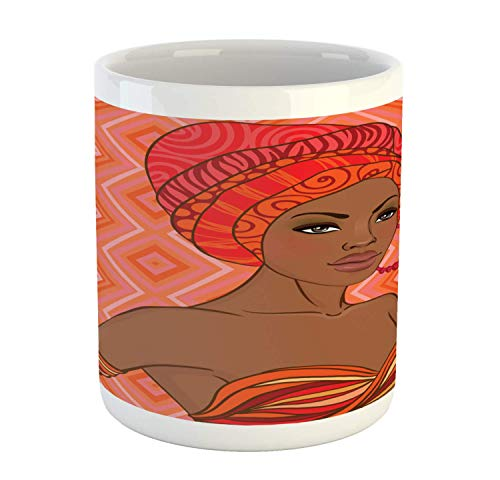 African Mug, Portrait of Woman in Dress Zulu Inspired Graphic Print, Ceramic Cup for Water Tea Drinks, 11 oz, Scarlet Umber