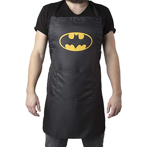 DC Batman Kitchen Apron with Bat Symbol Design - Adjustable Adult Size - Great for Cooking & Grilling