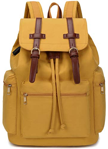 BLUBOON Laptop Backpack School Leather Trim Casual Daypack College Bookbag Women Men Travel Rucksack (Yellow)